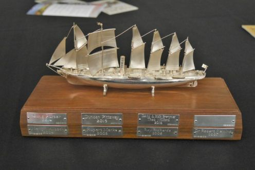 here is the Award itself. it's solid silver, and the silversmith who made it told us that it was mounted on a piece of wood from the deck of the SS Great Britain. It was originally created for Jack Hayward who brought her back from the Falkland islands in the 1970s. I put in a plea to the awards committee for a special posthumous award to my great great great great great uncle, James Bremner, who in 1947 was the original preservationist of the SS Great Britain when he recovered her from the sands of Dundrum Bay in Northern Ireland where she'd gone ashore a couple of years before.